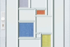 bejárati ajtók színes üveggel